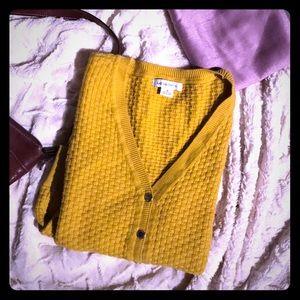 Mustard Yellow Heavy Waffle Knit Cotton Cardigan M